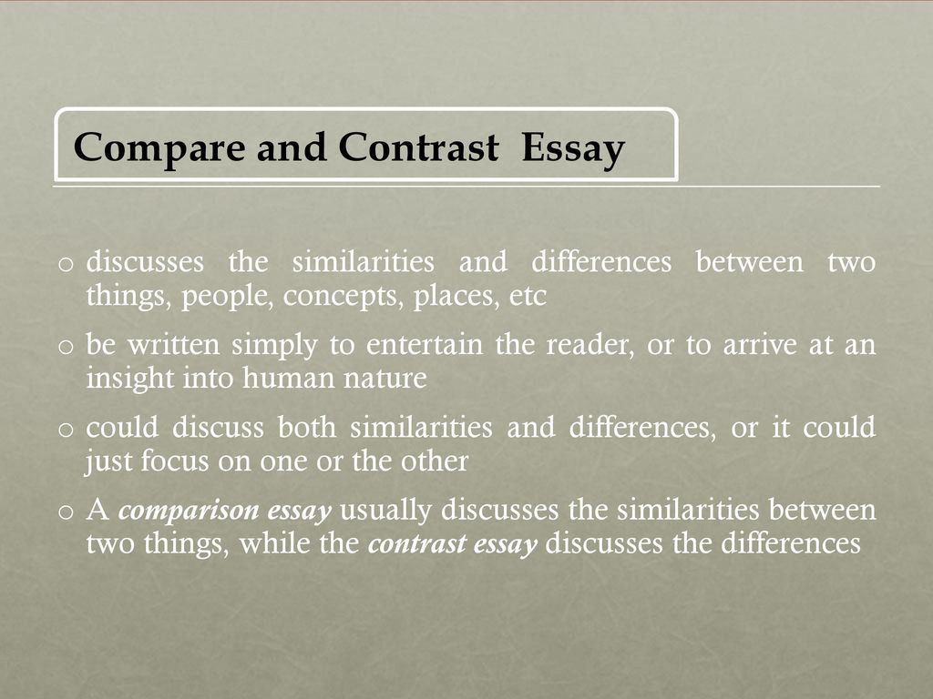 Essay comparing and contrasting two cities