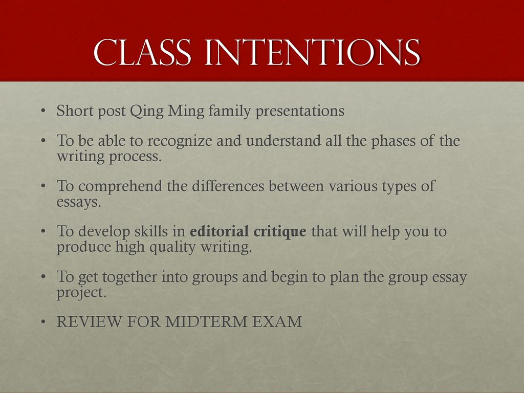 the essay writing process academic skills units and damon 5 class intentions