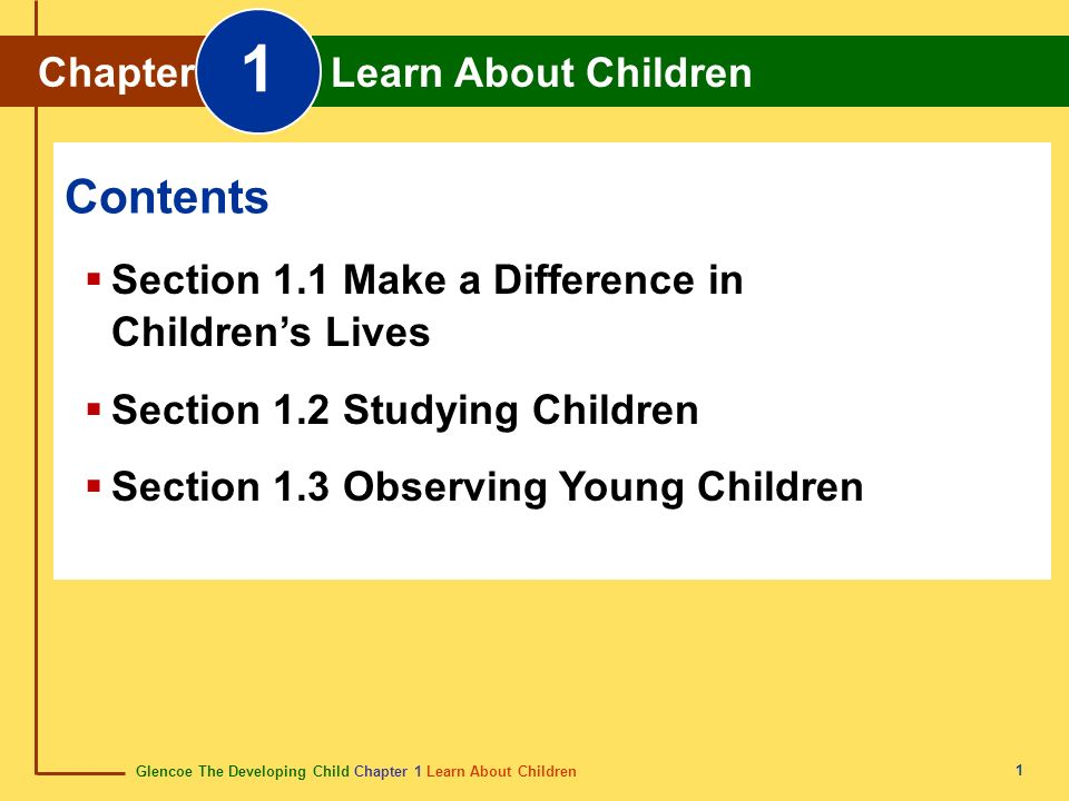 1 Contents Chapter Learn About Children