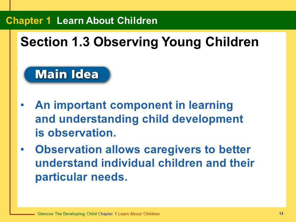 Section 1.3 Observing Young Children