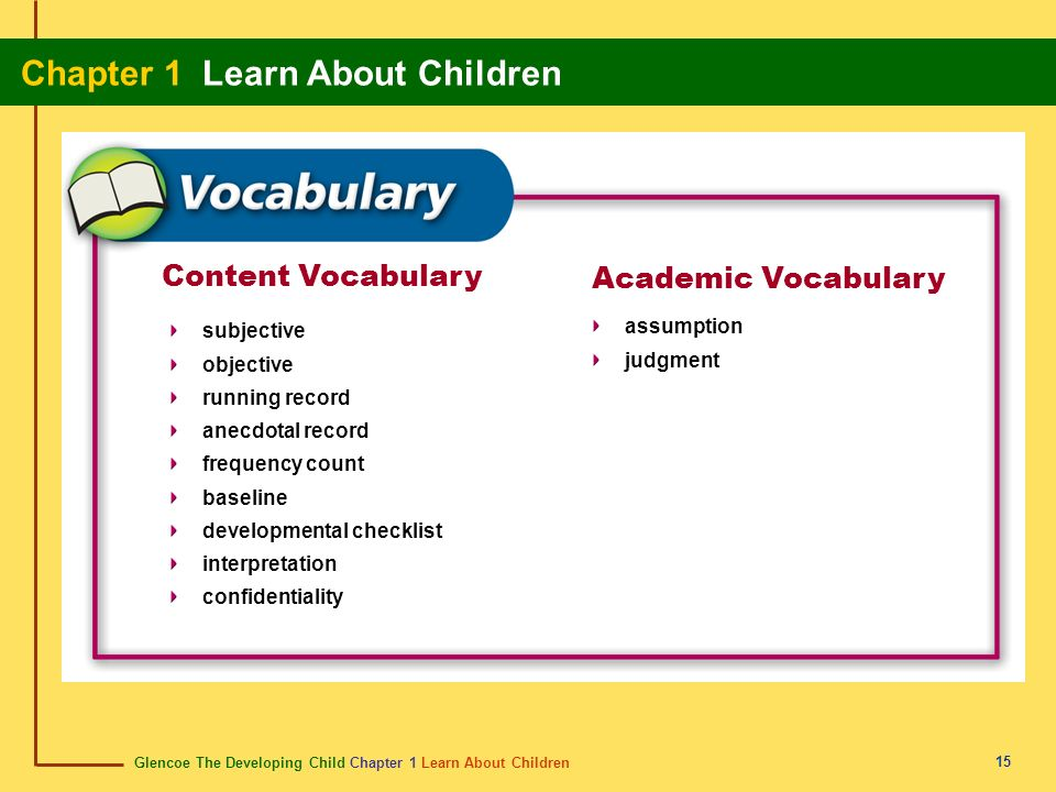 Content Vocabulary Academic Vocabulary assumption subjective judgment