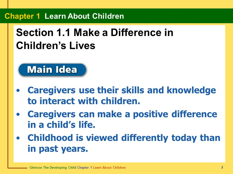 Section 1.1 Make a Difference in Children's Lives