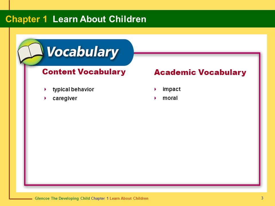 Content Vocabulary Academic Vocabulary typical behavior caregiver