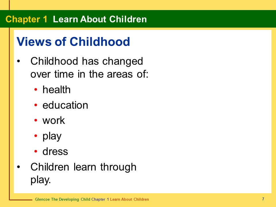 Views of Childhood Childhood has changed over time in the areas of: