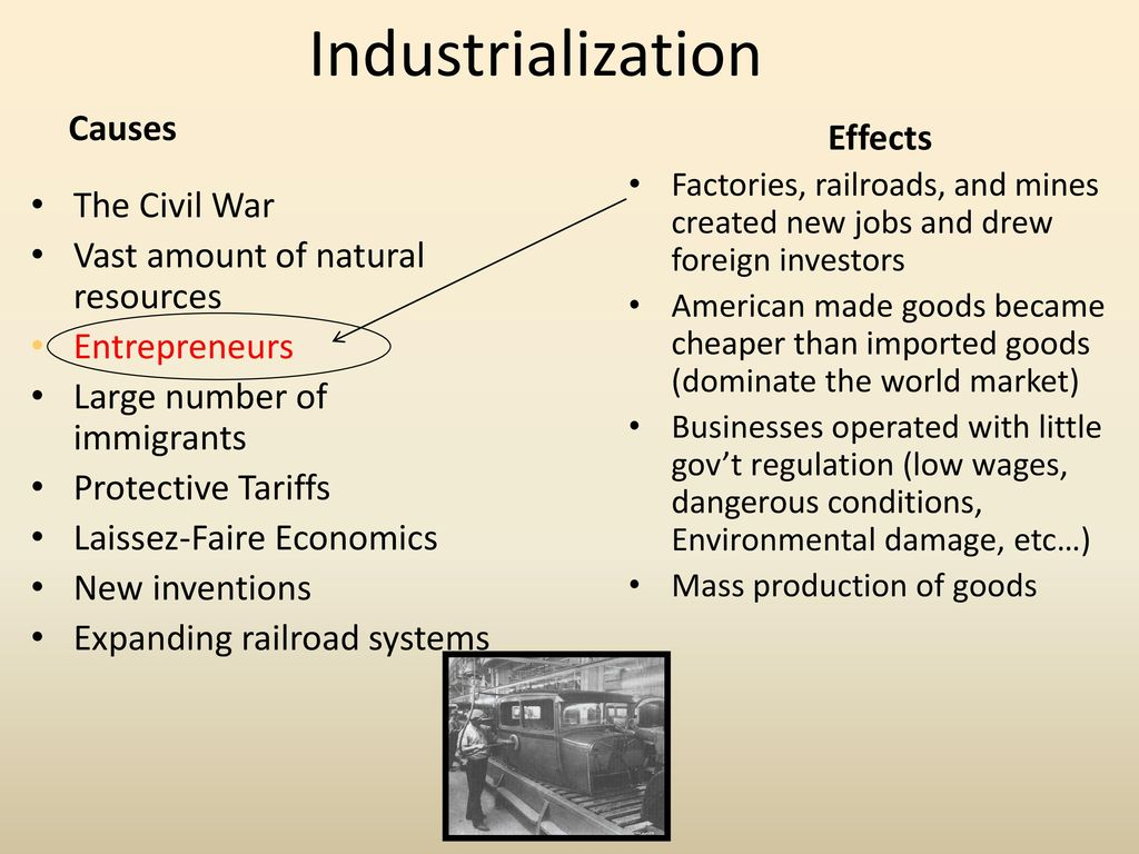 effects of industrialization on the environment Great list by brettd i'd like to add one more issue to the discussion the industrial revolution changed the concept of work in america on several levels.
