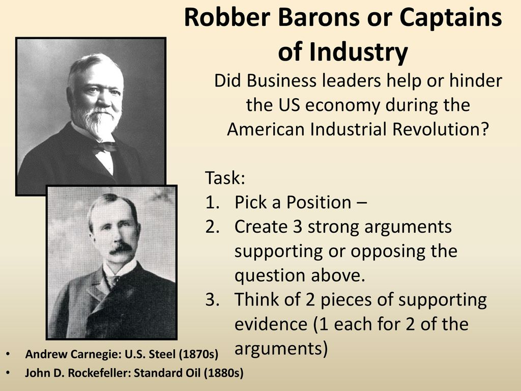 the captains of industry during american The second industrial revolution during the gilded age, america developed its mass production, scientific management, and managerial skills  captains of industry .