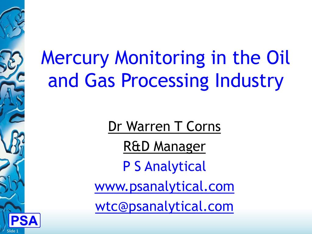 Mercury Monitoring in the Oil and Gas Processing Industry ...
