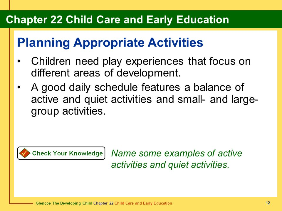 Planning Appropriate Activities