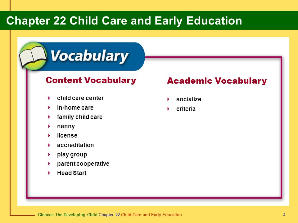 Content Vocabulary Academic Vocabulary child care center socialize