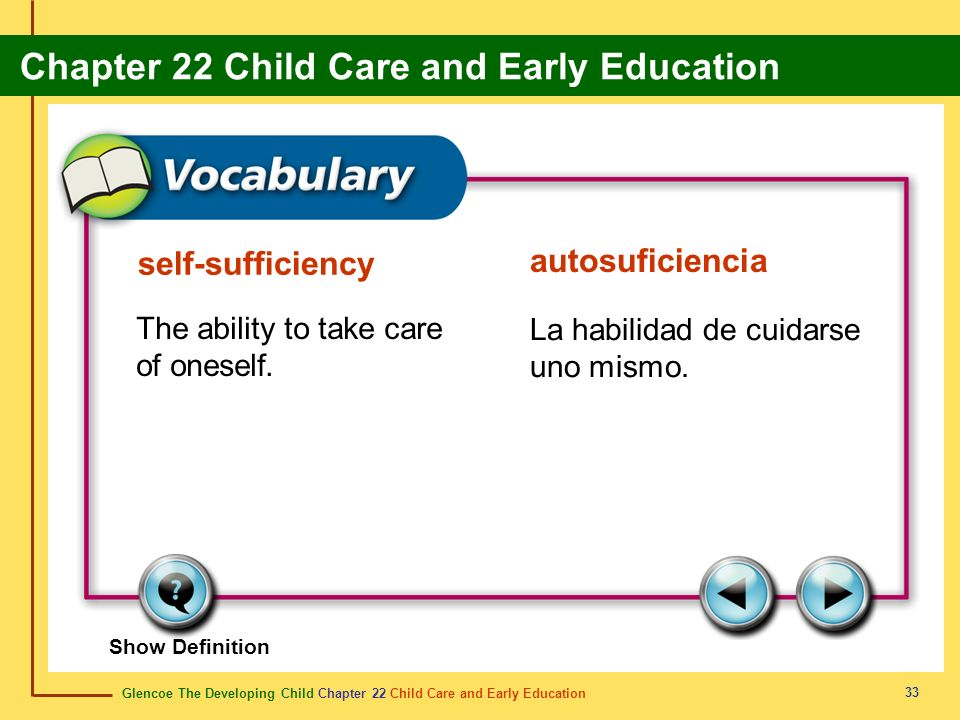 self-sufficiency autosuficiencia The ability to take care of oneself.