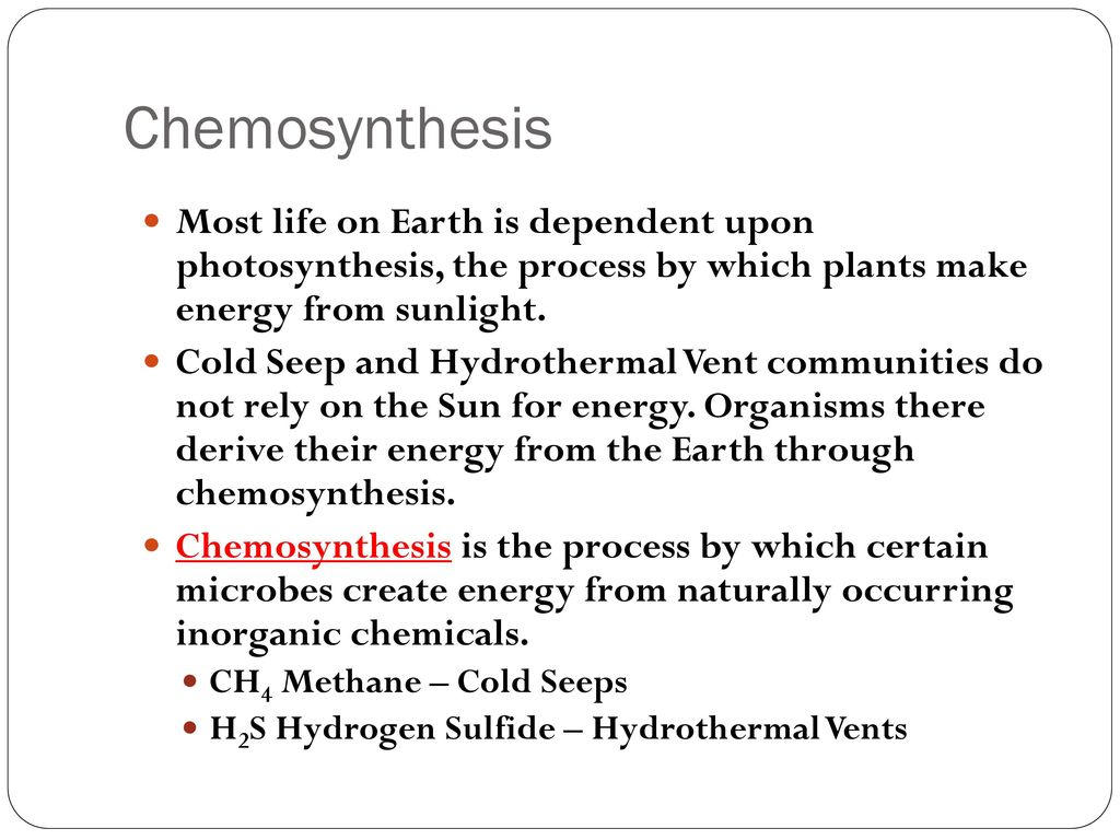 chemosynthesis is the process by which the organisms manufacture The difference between chemosynthesis and photosynthesis is a process certain organisms use to organisms capable of manufacturing organic matter directly.