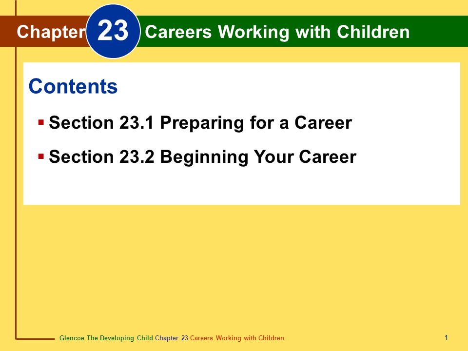 23 Contents Chapter Careers Working with Children