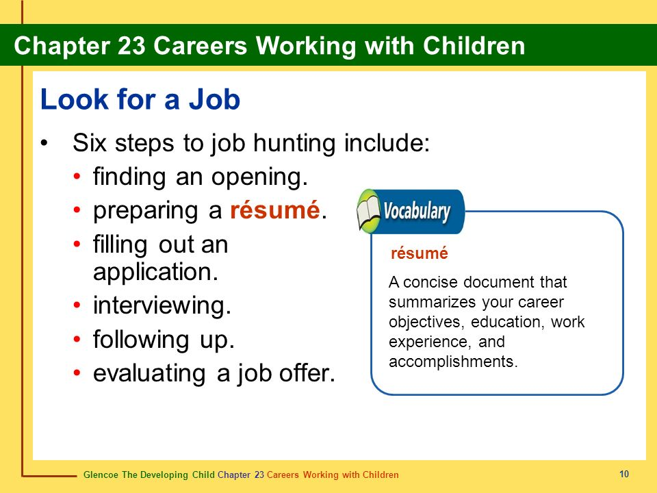 Look for a Job Six steps to job hunting include: finding an opening.