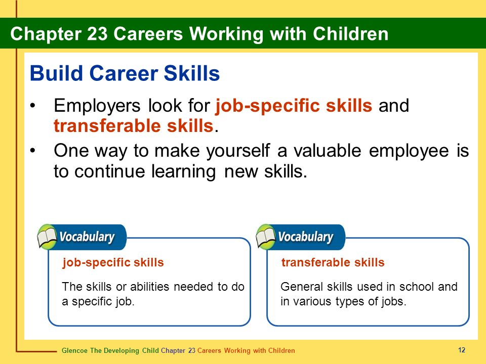 Build Career Skills Employers look for job-specific skills and transferable skills.