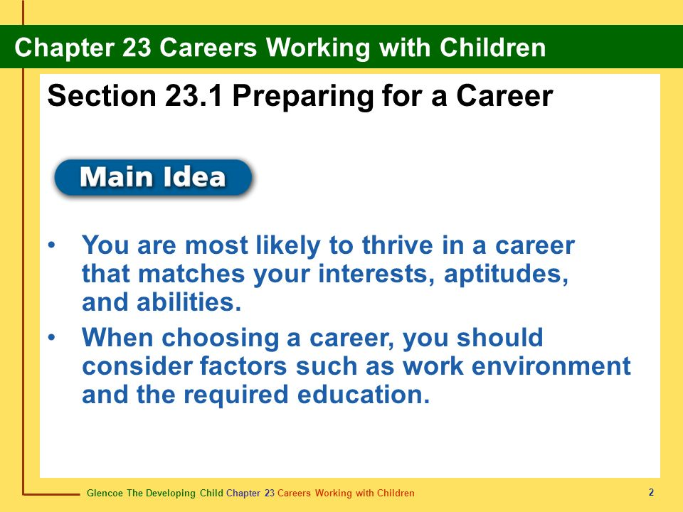 Section 23.1 Preparing for a Career