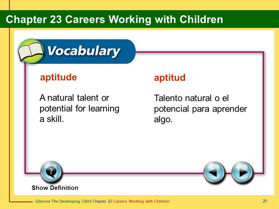 aptitude aptitud A natural talent or potential for learning a skill.