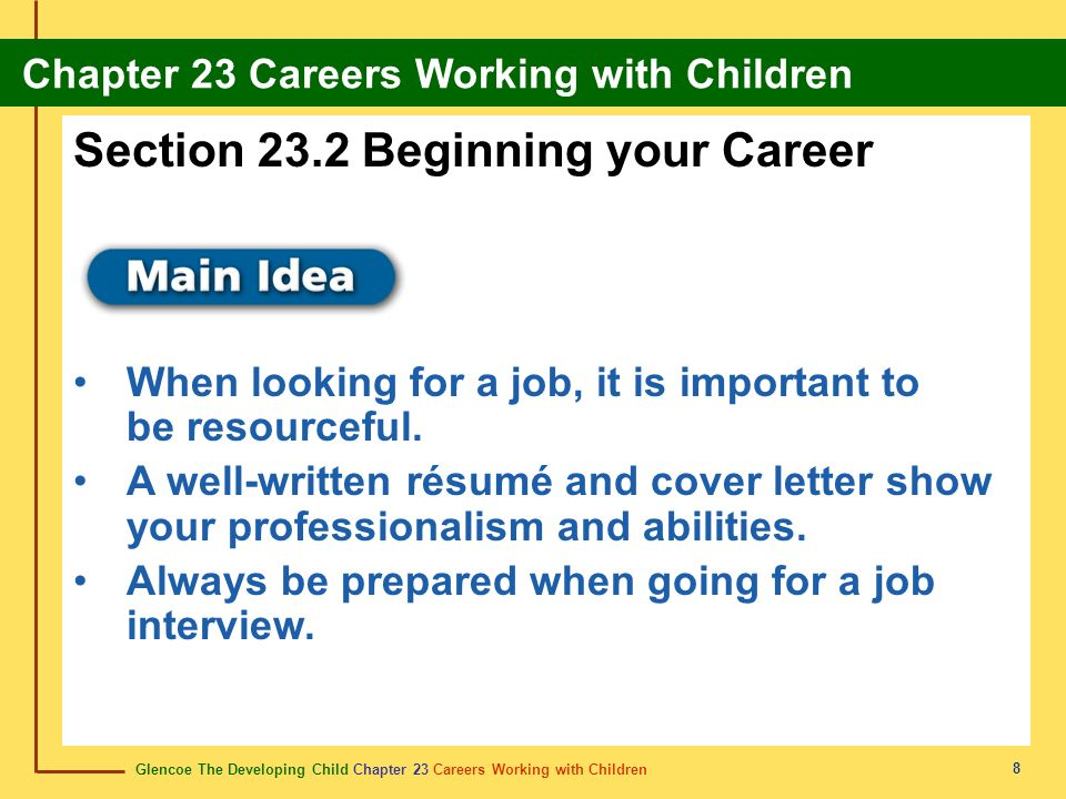 Section 23.2 Beginning your Career