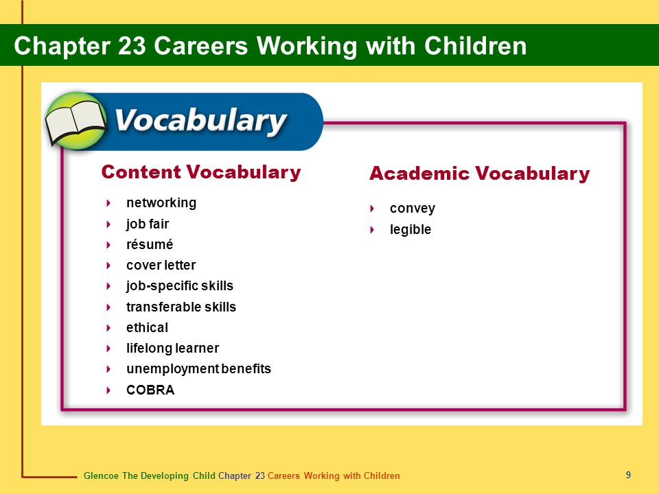 Content Vocabulary Academic Vocabulary networking convey job fair