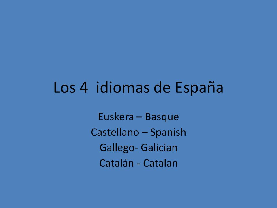 Los 4 idiomas de España Euskera – Basque Castellano – Spanish