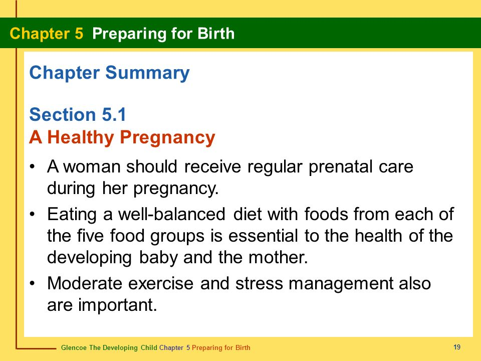 Chapter Summary Section 5.1 A Healthy Pregnancy