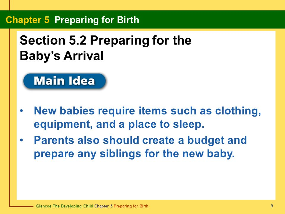 Section 5.2 Preparing for the Baby's Arrival