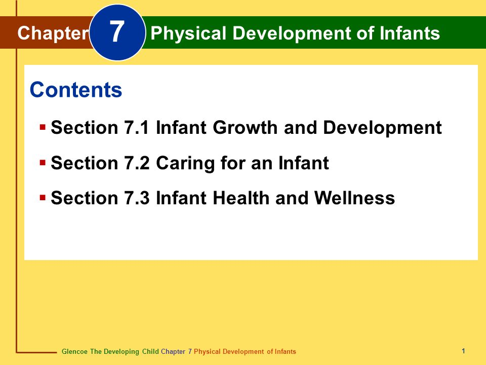 7 Contents Chapter Physical Development of Infants