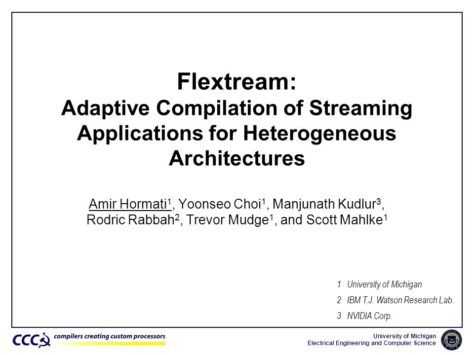 Flextream: Adaptive Compilation of Streaming Applications for Heterogeneous Architectures