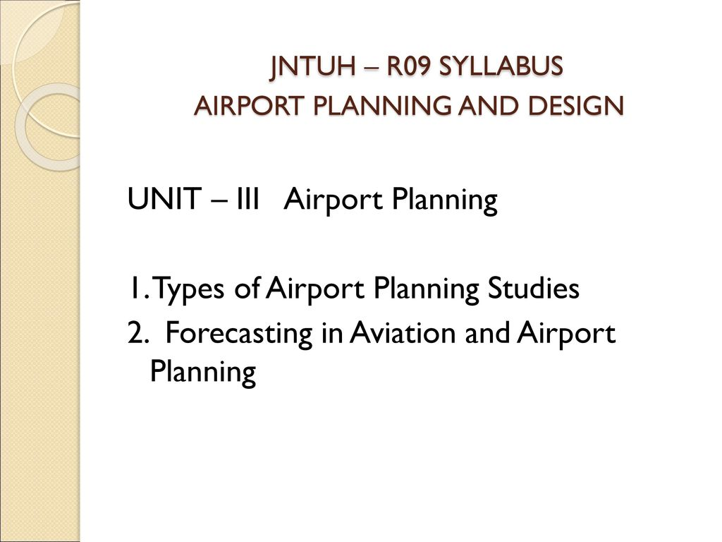 Guru Nanak Institutions Technical Campus Airport Planning And Design Ppt Download