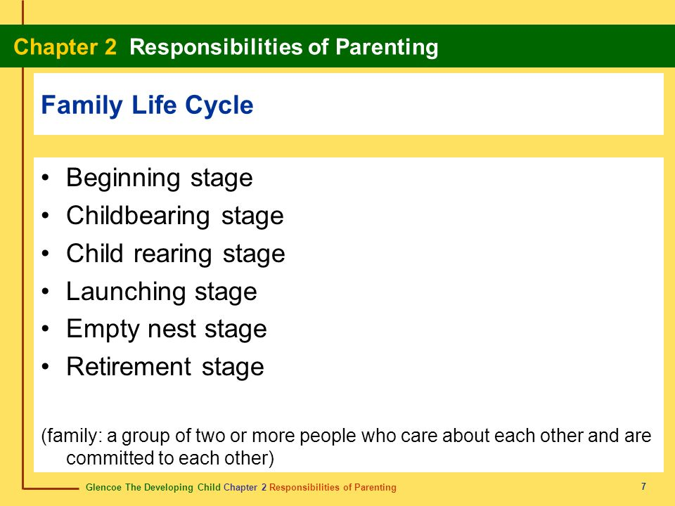 Family Life Cycle Beginning stage Childbearing stage