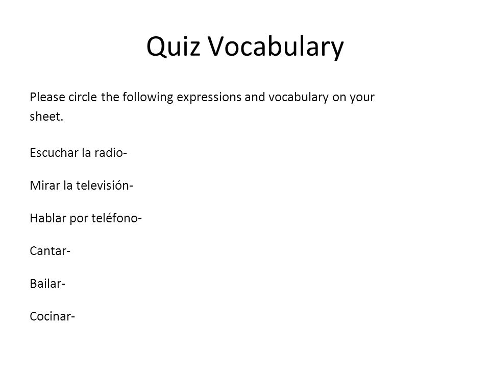 Quiz Vocabulary