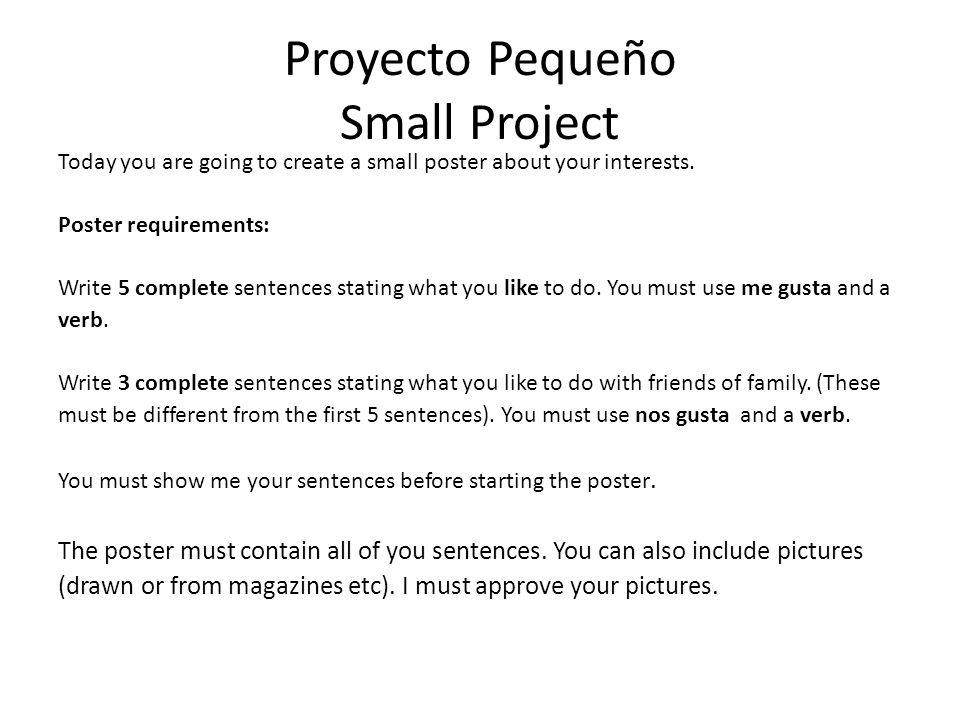 Proyecto Pequeño Small Project
