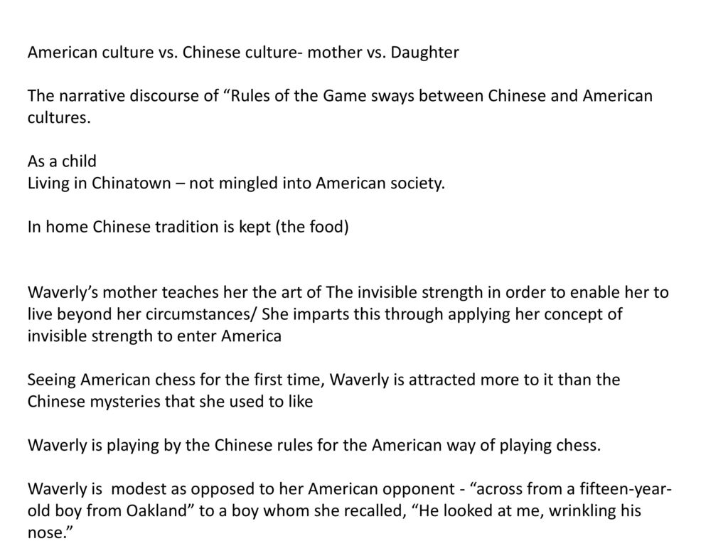 The rules of the game ppt video online download american culture vs chinese culture mother vs daughter biocorpaavc