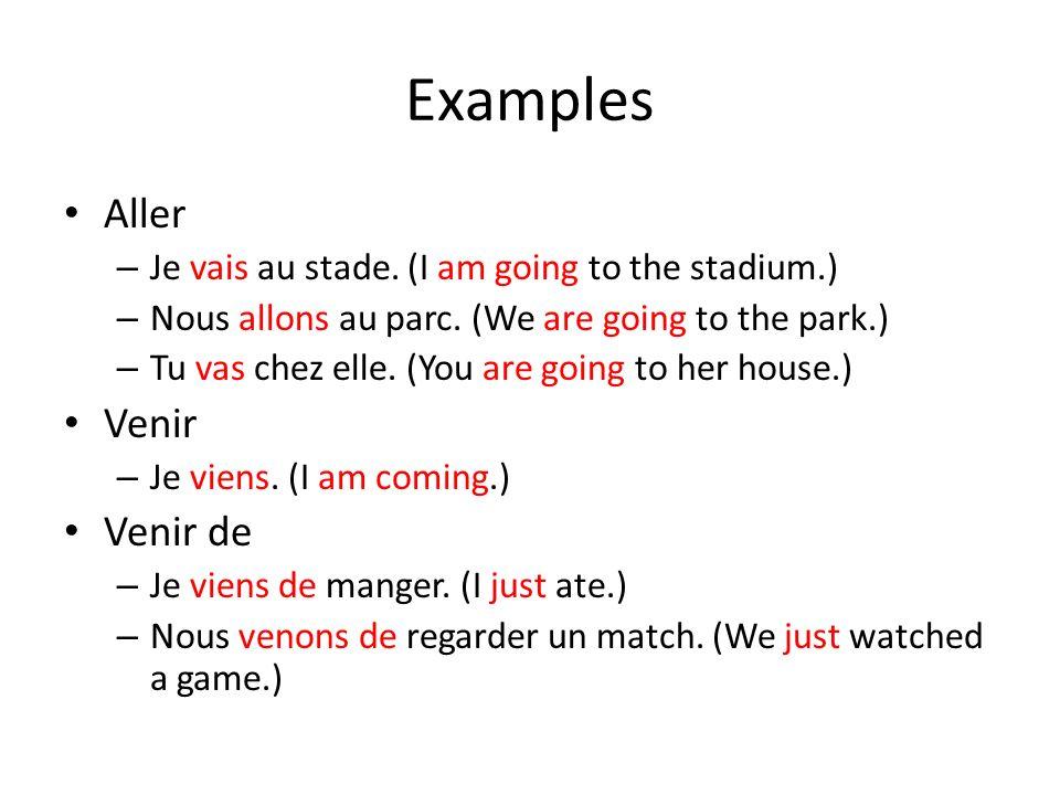Examples Aller Venir Venir de