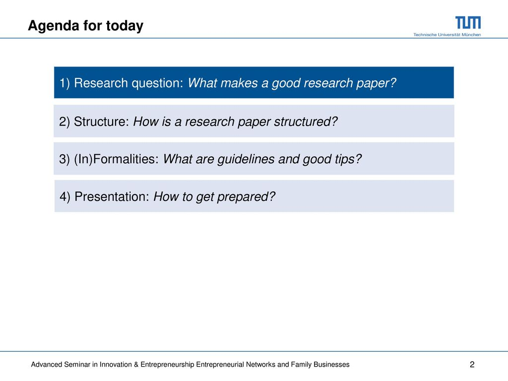 What makes good research paper