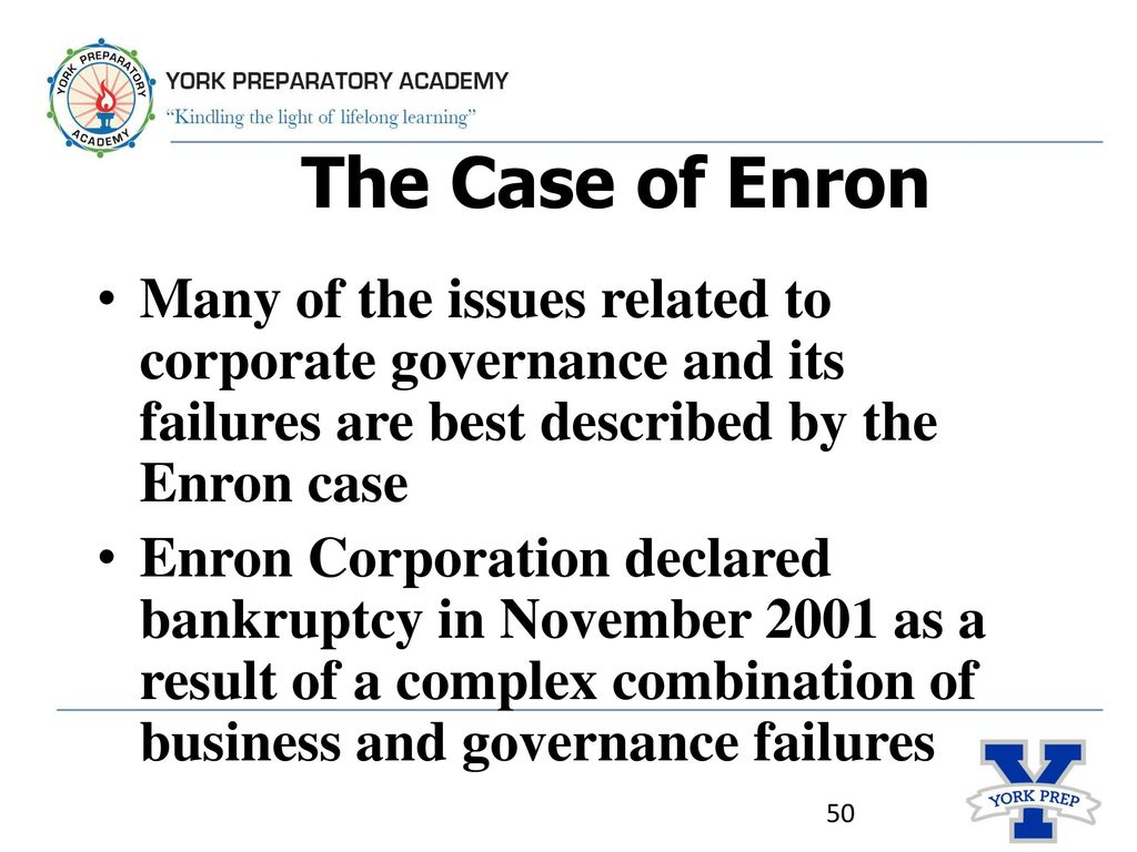 the causes of the failure of enron company (1) the role of the board of directors in enron's collapse subcommittee investigation on december 2, 2001, enron.