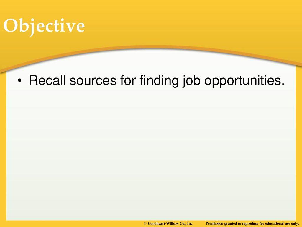 objective in finding a job