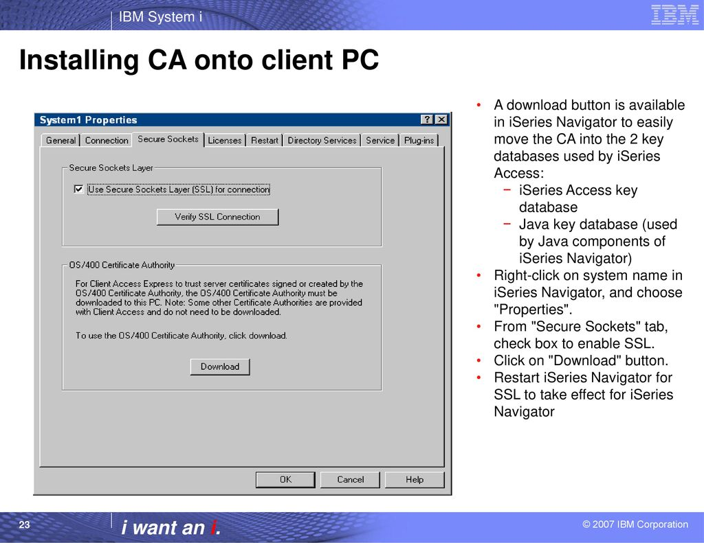 Configuring the iseries access servers to use ssl ppt download installing ca onto client pc 1betcityfo Images