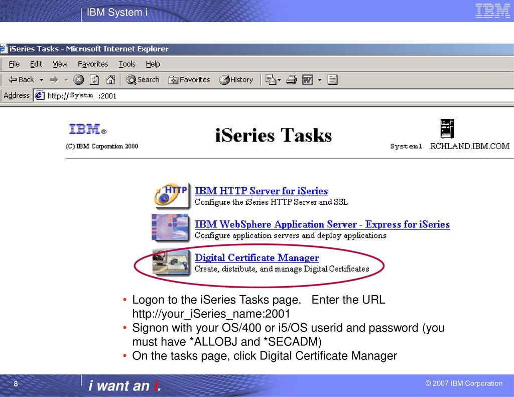 Configuring the iseries access servers to use ssl ppt download step 1 obtaining a server certificate from a well known ca details xflitez Image collections