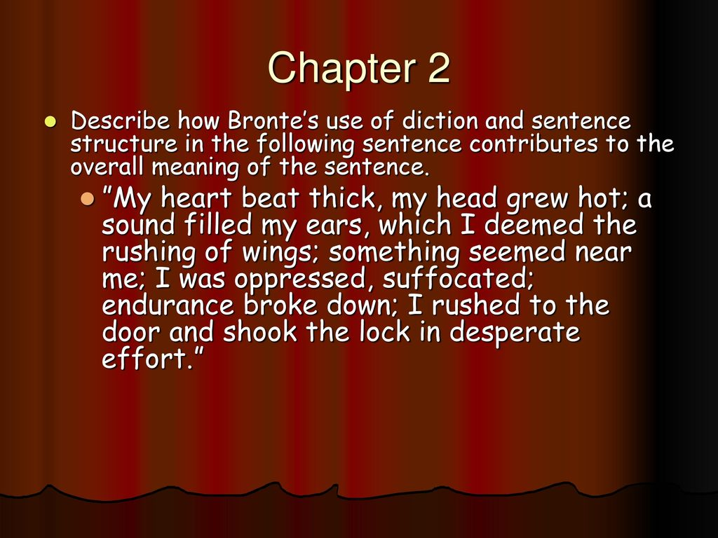jane eyre tone and diction Charlotte bronte's 1847 novel, ''jane eyre,'' is one of english literature's most iconic love stories bronte masterfully uses irony to tell a.