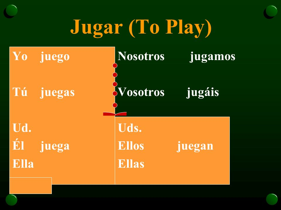 Jugar (To Play) Yo juego Tú juegas Ud. Él juega Ella Nosotros jugamos
