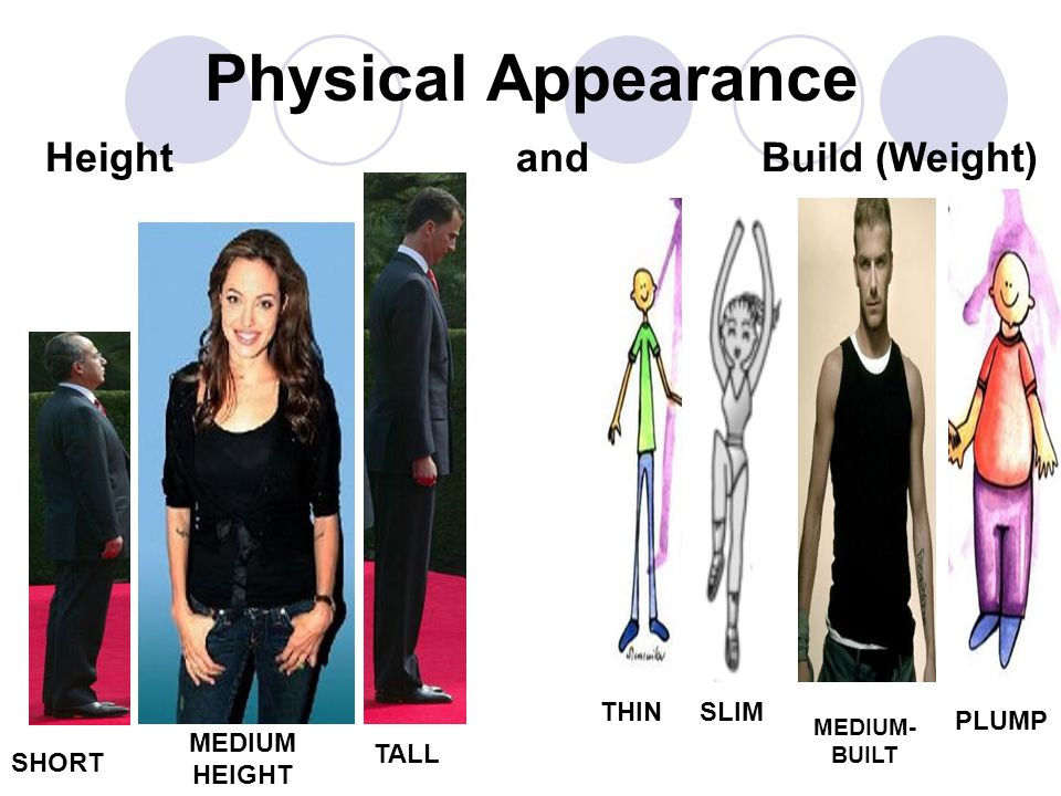Physical Appearance Height and Build (Weight) THIN SLIM PLUMP