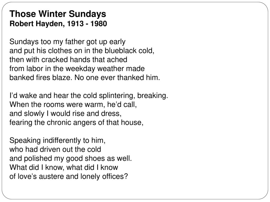 Those Winter Sundays Questions and Answers