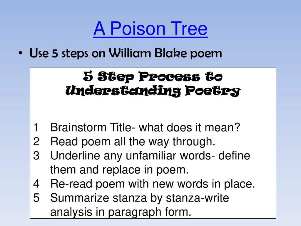 poem analysis a poison tree Calling card okay let's face it: a poison tree isn't the most pleasant poem in the word it's about a guy who gets really angry and then eventually delights in the death of his foe isn't that nice no it.