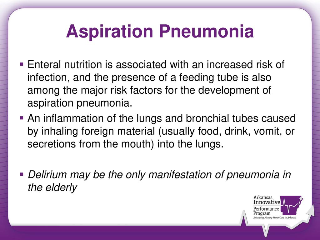 aspiration pneumonia due to regurgitation Oropharyngeal dysphagia arises from  or wet voice after swallowing, nasal regurgitation,  can potentially cause aspiration pneumonia.