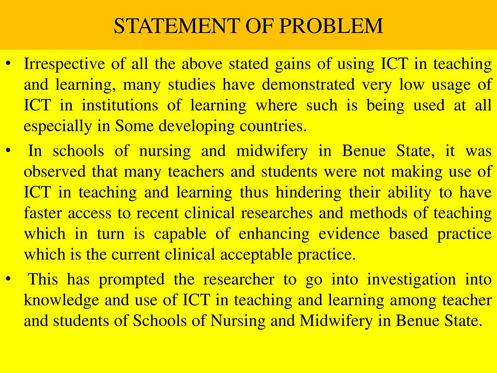 statement of problem 05-coley-45286qxd 6/12/2007 11:48 am page 39 5 writing the needs or problem statement chapter topics: definitions the purpose of the needs statement a guide to writing the needs statement.