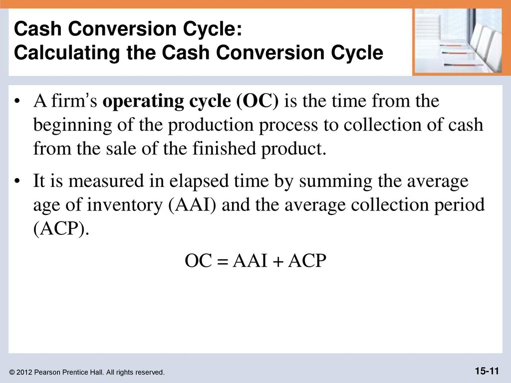 cash conversion cycle This lesson will introduce you to the cash conversion cycle it will be defined and a formula for its calculation is presented and explained.