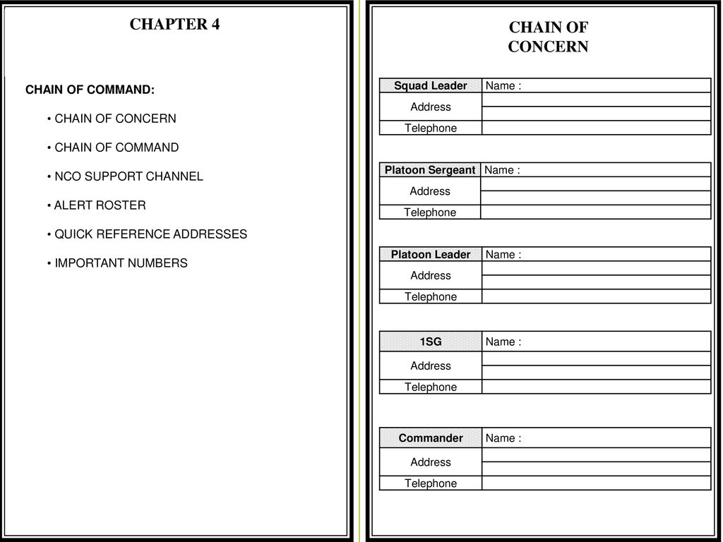 nco support channel and chain of command The authority from the commander-in-chief extends through the chain of  command, with the assistance of the nco support channel, to the squad, section  or.