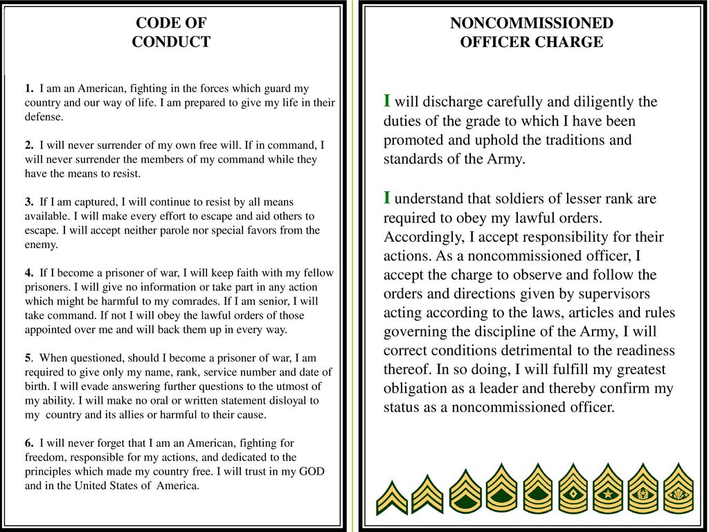 Noncommissioned officer's creed