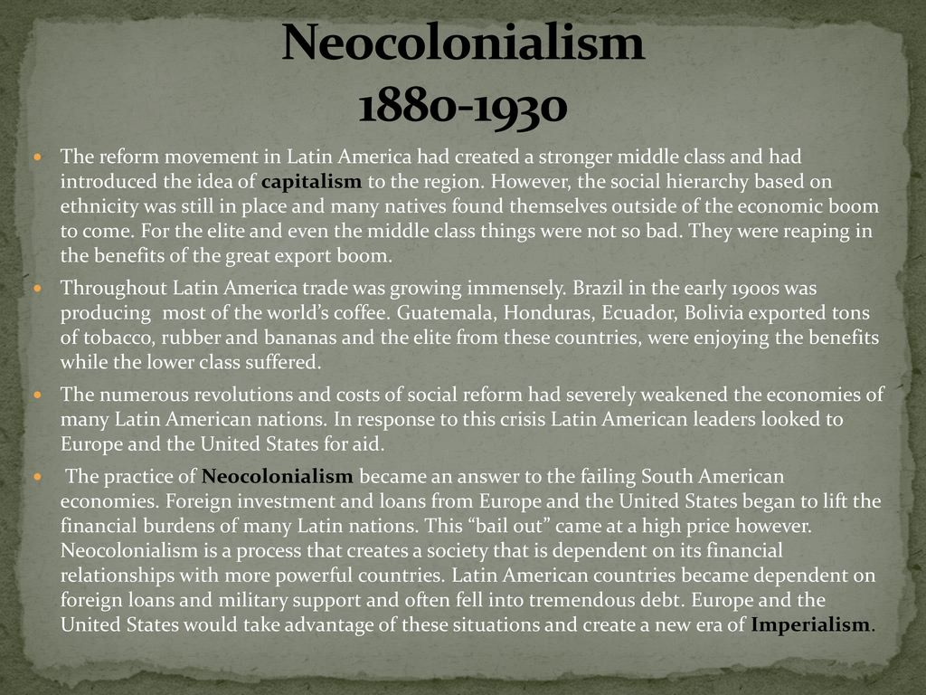 creation of neocolonialism 1 cover page colonialism/neocolonialism, cause of africa's  africa and europe through the creation of conditions which gave europeans and.
