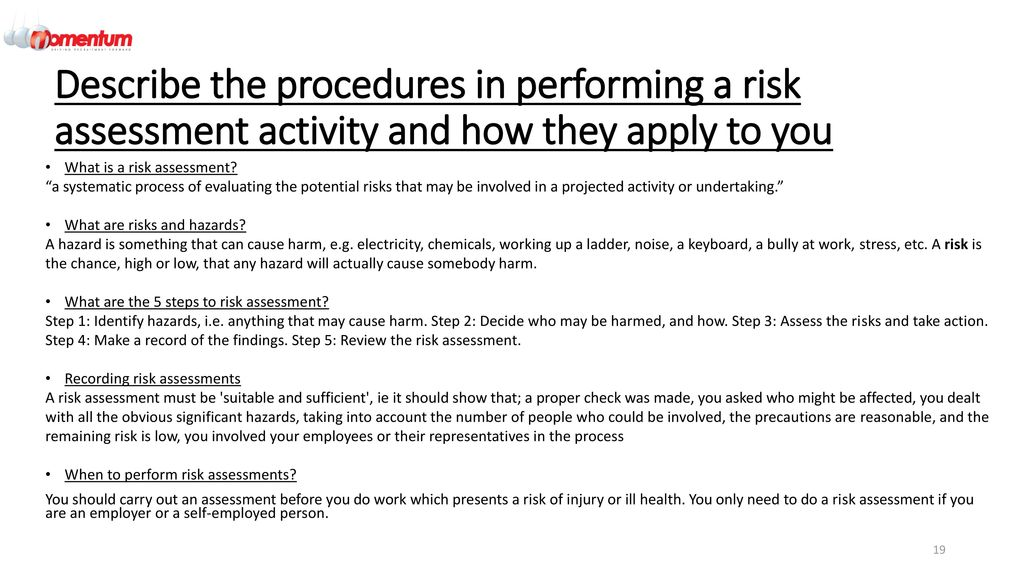 how to make a risk assessment for any procedure